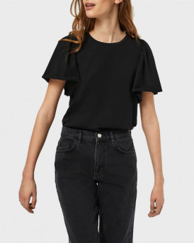 VERO MODA O-NECK SHORT SLEEVED TOP - 10244714 - ΜΑΥΡΟ