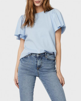 VERO MODA O-NECK SHORT SLEEVED TOP - 10244714 - ΜΠΛΕ