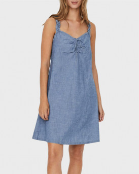 VERO MODA Akela shortsleeve chmabray flou string dress - 10244773 - ΜΠΛΕ