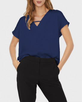 VERO MODA GLEE V-NECK BLOUSE - 10244824 - ΜΠΛΕ