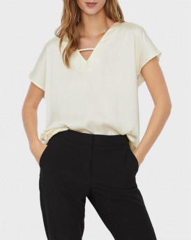 VERO MODA GLEE V-NECK BLOUSE - 10244824 - ΑΣΠΡΟ