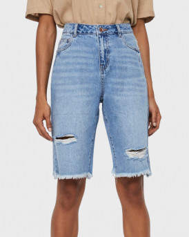 VERO MODA Carla denim destoy shorts - 10245225 - ΜΠΛΕ