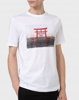 HUGO Cotton-jersey slim-fit T-shirt with collection-themed graphic - 50448967 DICHIBAN - ΑΣΠΡΟ