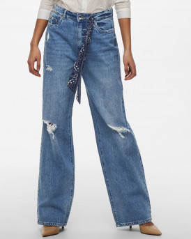 OLLY WIDE HIGH WAISTED JEANS - 15222079 - ΜΠΛΕ