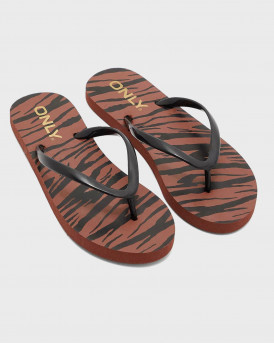 ONLY Bea Zebra Print Thong SLIPPERS - 15223698 - ΜΑΥΡΟ