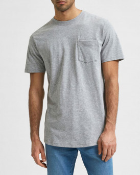 SELECTED REGULAR FIT CHEST POCKET T-SHIRT - 16077329 - ΓΚΡΙ