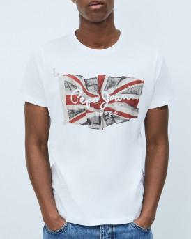 PEPE JEANS Men T-Shirt - PM505671 FLAG LOGO - ΑΣΠΡΟ
