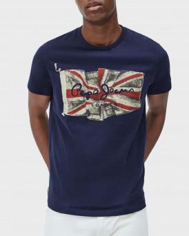 PEPE JEANS Men T-Shirt - PM505671 FLAG LOGO - ΜΠΛΕ