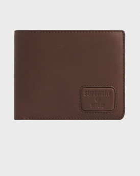 SUPERDRY NYC BIFOLD leather wallet - Μ9810144Α - ΚΑΦΕ