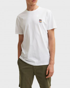 SELECTED ORGANIC COTTON CHEST EMBROIDERY T-SHIRT - 16079041 - ΑΣΠΡΟ