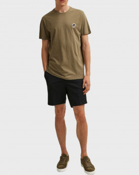 SELECTED ORGANIC COTTON CHEST EMBROIDERY T-SHIRT - 16079041 - ΛΑΔΙ