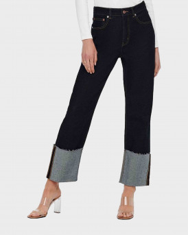 ONLY WIDE CROPPED FOLD UP HIGH WAISTED ΓΥΝΑΙΚΕΙΟ JEAN - 15235323 - ΜΠΛΕ