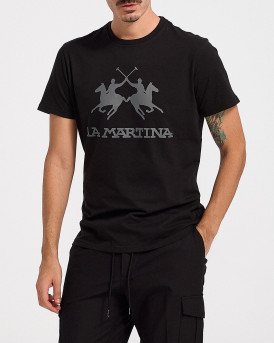 LA MARTINA ΑΝΔΡΙΚΟ T-SHIRT - CCMR01 JS206 - ΜΑΥΡΟ