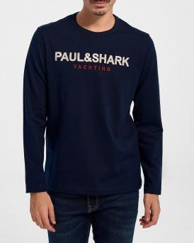 PAUL & SHARK ORGANIC COTTON LONG SLEEVED ΑΝΔΡΙΚΗ ΜΠΛΟΥΖΑ - 11311664 - ΜΠΛΕ