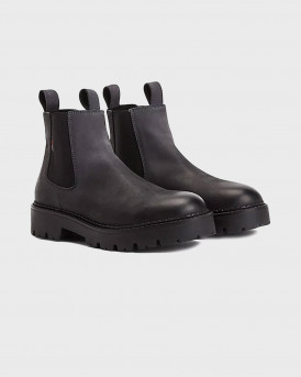 Tommy Jeans Distressed Leather Cleat Chelsea Boots - ΕM0EM00825 - ΑΝΘΡΑΚΙ