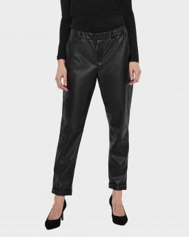 Vero Moda Normal Waist Imitation Γυναικεία Trousers - 10237236 - ΜΑΥΡΟ