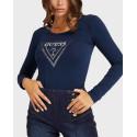 Guess Triangle logo rhinestones Γυναικείο T-Shirt - W1BI47J1311 - ΜΠΛΕ