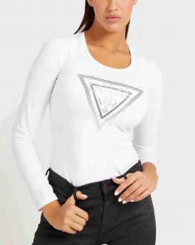 Guess Triangle logo rhinestones Γυναικείο T-Shirt - W1BI47J1311 - ΑΣΠΡΟ