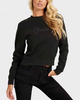 Guess Embroidery Sweatshirt Γυναικεία Μπλούζα - W1ΒQ01K68I1 - ΜΑΥΡΟ